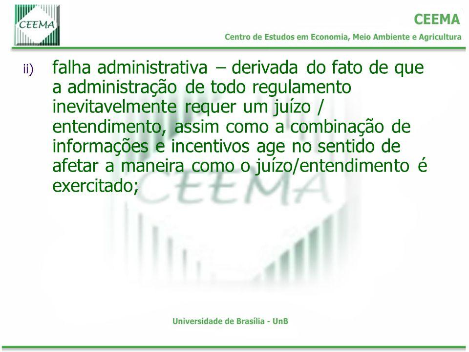 ii) falha administrativa – derivada do fato de que a administração de todo regulamento inevitavelmente requer um juízo / entendimento, assim como a co
