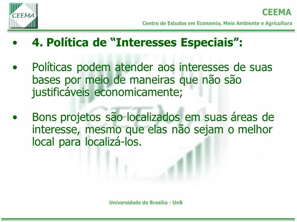 4. Política de Interesses Especiais: Políticas podem atender aos interesses de suas bases por meio de maneiras que não são justificáveis economicament