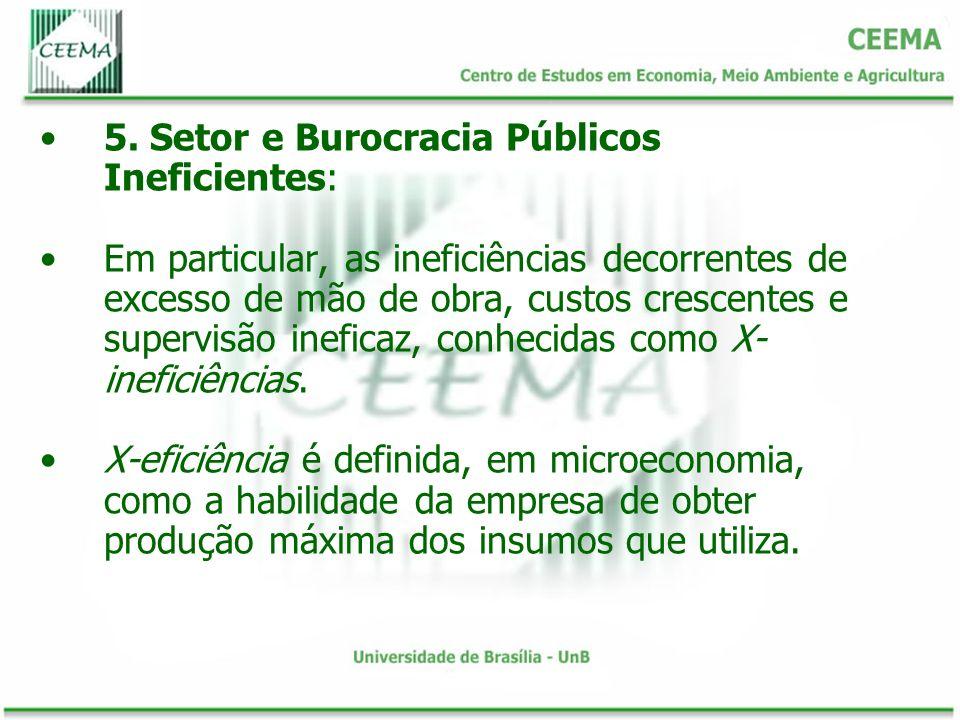 5. Setor e Burocracia Públicos Ineficientes: Em particular, as ineficiências decorrentes de excesso de mão de obra, custos crescentes e supervisão ine