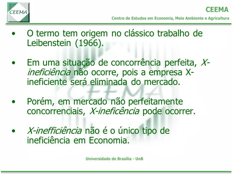 O termo tem origem no clássico trabalho de Leibenstein (1966). Em uma situação de concorrência perfeita, X- ineficiência não ocorre, pois a empresa X-