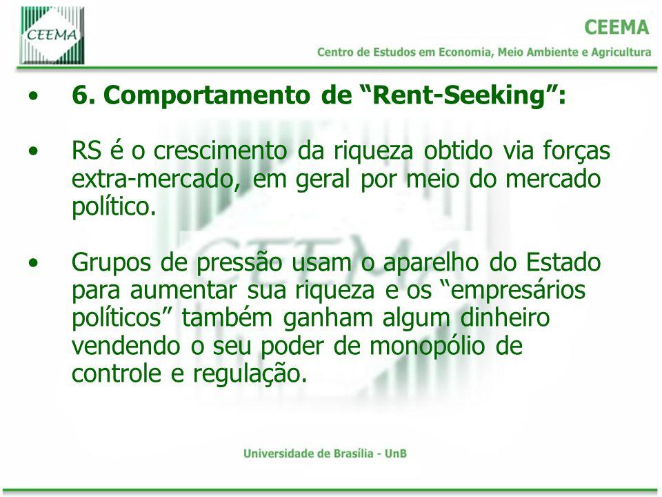 6. Comportamento de Rent-Seeking: RS é o crescimento da riqueza obtido via forças extra-mercado, em geral por meio do mercado político. Grupos de pres