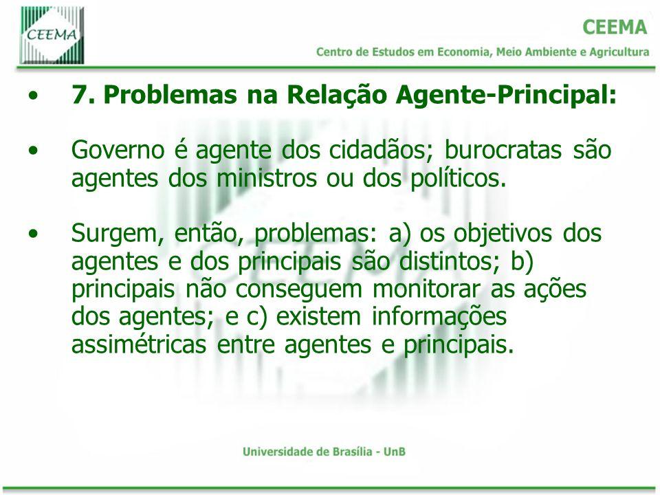 7. Problemas na Relação Agente-Principal: Governo é agente dos cidadãos; burocratas são agentes dos ministros ou dos políticos. Surgem, então, problem