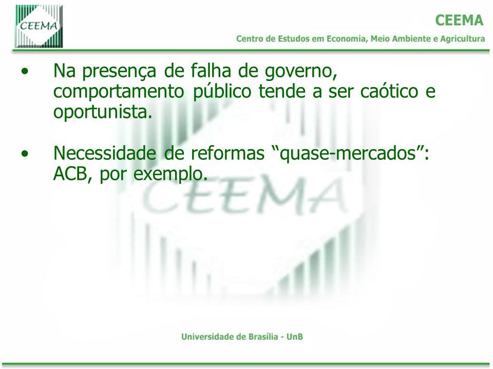 Na presença de falha de governo, comportamento público tende a ser caótico e oportunista. Necessidade de reformas quase-mercados: ACB, por exemplo.