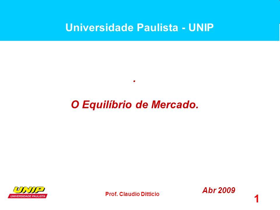 Prof. Claudio Ditticio 1. O Equilíbrio de Mercado. Abr 2009 Universidade Paulista - UNIP