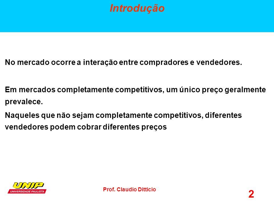 Prof.Claudio Ditticio 2 Introdução No mercado ocorre a interação entre compradores e vendedores.