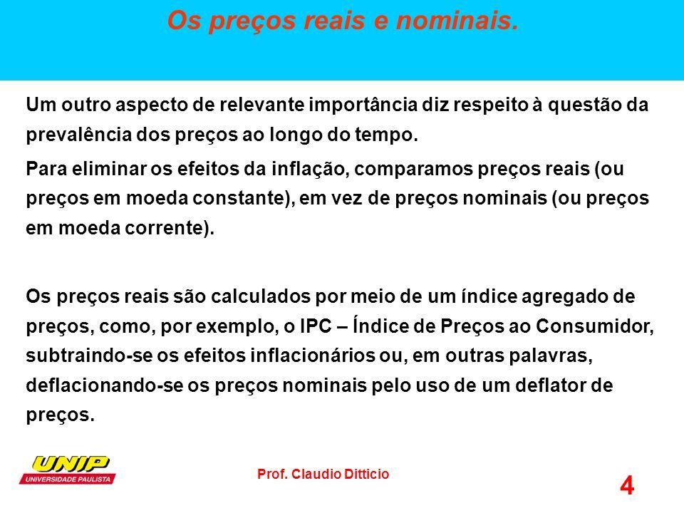 Prof.Claudio Ditticio 4 Os preços reais e nominais.