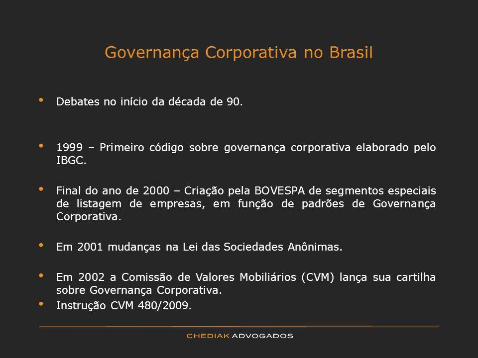 Governança Corporativa no Brasil Debates no início da década de 90. 1999 – Primeiro código sobre governança corporativa elaborado pelo IBGC. Final do
