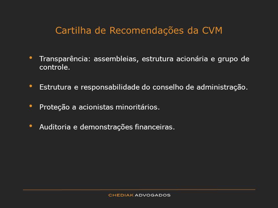 Cartilha de Recomendações da CVM Transparência: assembleias, estrutura acionária e grupo de controle. Estrutura e responsabilidade do conselho de admi