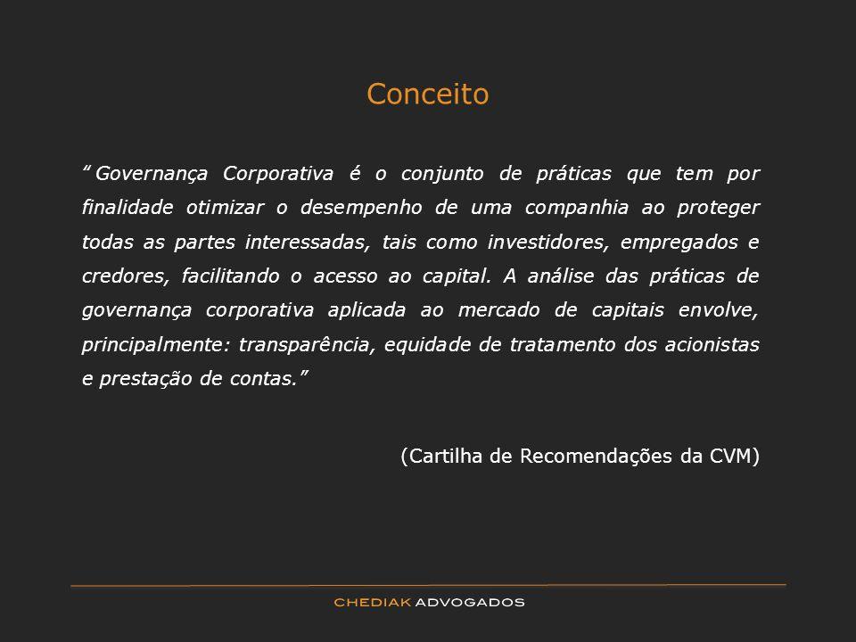 Conceito Governança Corporativa é o conjunto de práticas que tem por finalidade otimizar o desempenho de uma companhia ao proteger todas as partes int