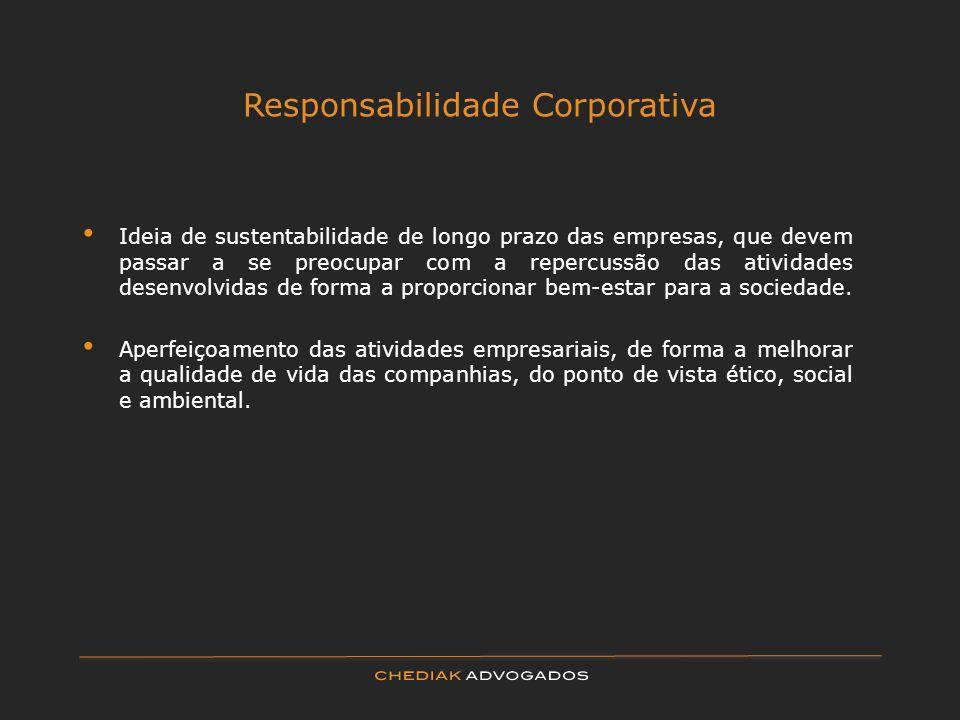 Responsabilidade Corporativa Ideia de sustentabilidade de longo prazo das empresas, que devem passar a se preocupar com a repercussão das atividades d