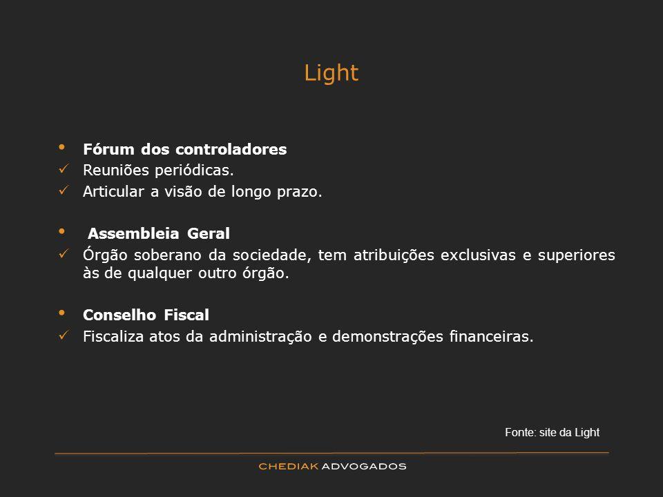 Light Fórum dos controladores Reuniões periódicas. Articular a visão de longo prazo. Assembleia Geral Órgão soberano da sociedade, tem atribuições exc