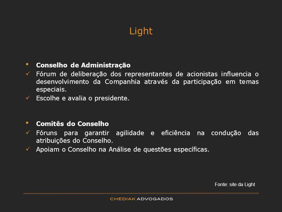 Light Conselho de Administração Fórum de deliberação dos representantes de acionistas influencia o desenvolvimento da Companhia através da participaçã
