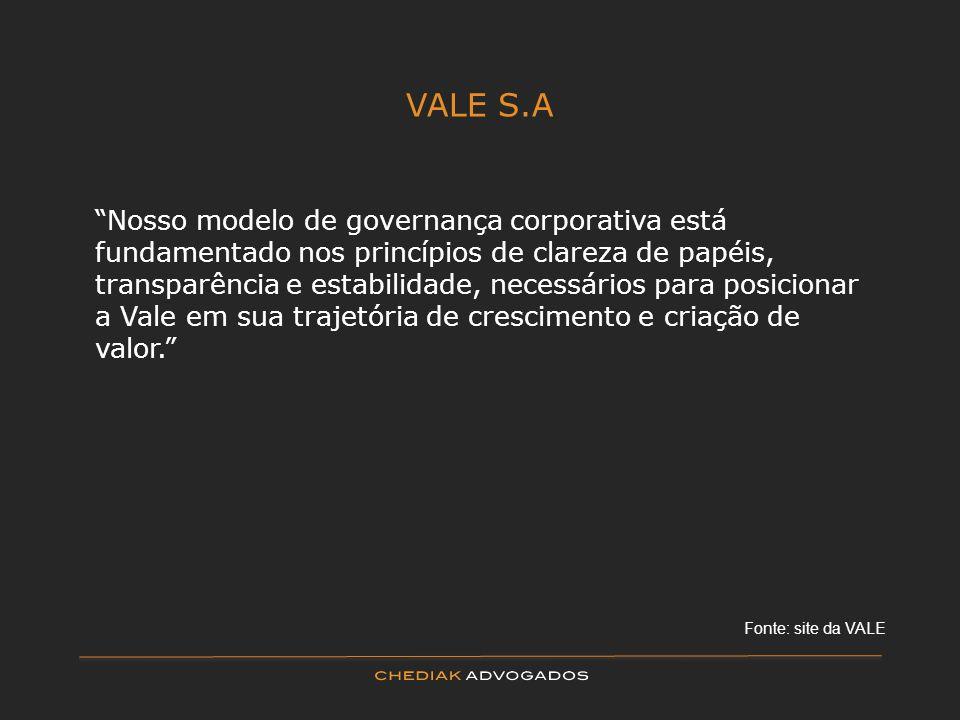 VALE S.A Nosso modelo de governança corporativa está fundamentado nos princípios de clareza de papéis, transparência e estabilidade, necessários para