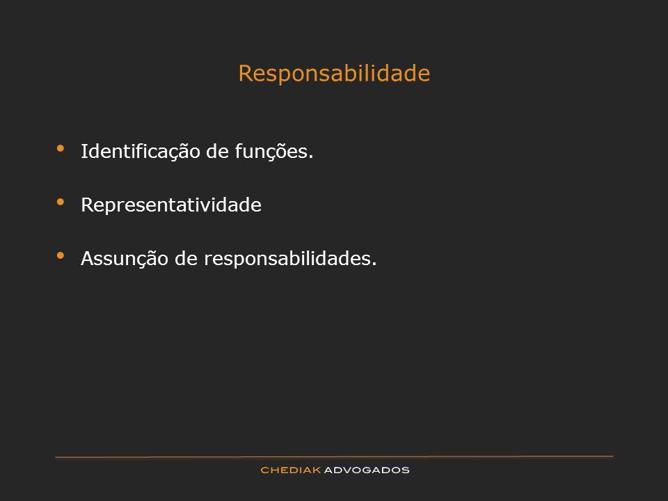 Responsabilidade Identificação de funções. Representatividade Assunção de responsabilidades.