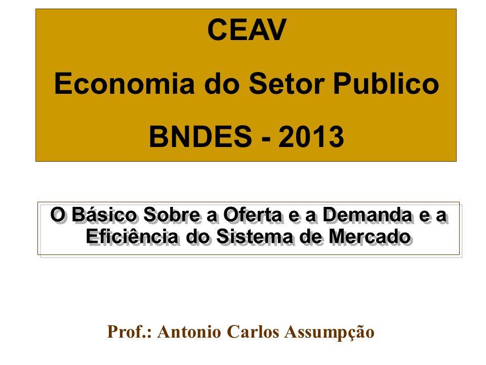 O Básico Sobre a Oferta e a Demanda e a Eficiência do Sistema de Mercado Prof.: Antonio Carlos Assumpção CEAV Economia do Setor Publico BNDES - 2013