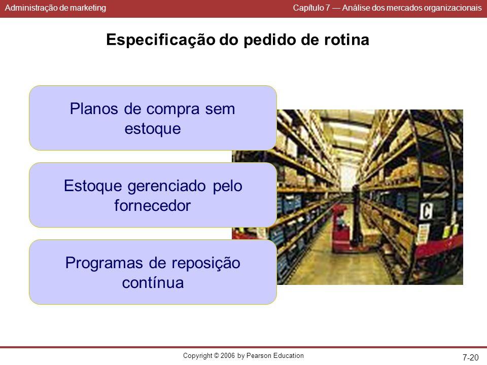 Administração de marketingCapítulo 7 Análise dos mercados organizacionais Copyright © 2006 by Pearson Education 7-20 Especificação do pedido de rotina Planos de compra sem estoque Estoque gerenciado pelo fornecedor Programas de reposição contínua