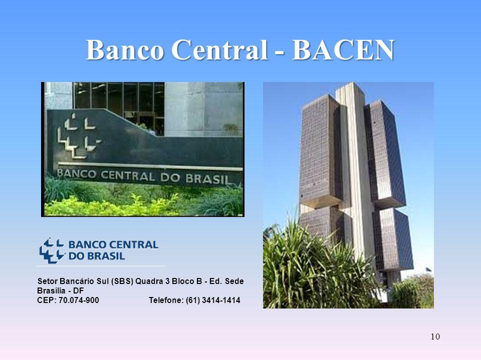 9 Banco Central - BACEN Executor das políticas traçadas pelo CMN e órgão fiscalizador do SFN. Banco fiscalizador e disciplinador do Mercado Financeiro