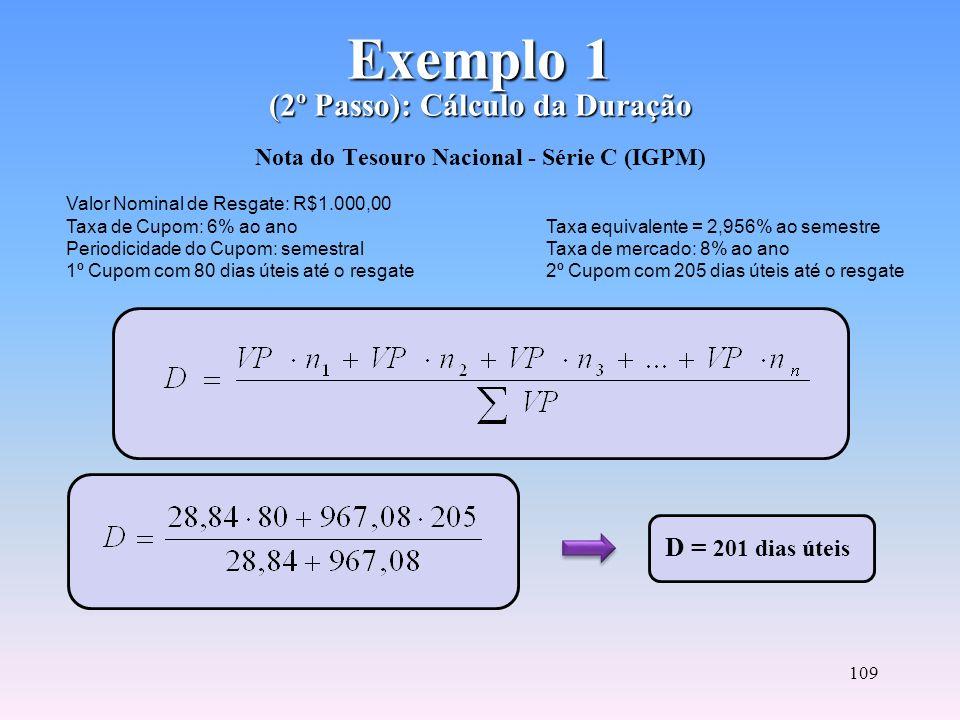 108 Exemplo 1 (1º Passo): Cálculo do Valor Presente Exemplo 1 (1º Passo): Cálculo do Valor Presente Nota do Tesouro Nacional - Série C (IGPM) VP = 28,