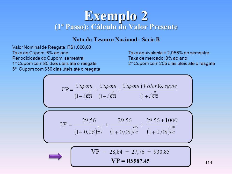 113 Cálculo da Convexidade (3º Passo) C(i) = Convexidade do título ou carteira VP = Valor Presente do fluxo de cada título n = Número de dias úteis re