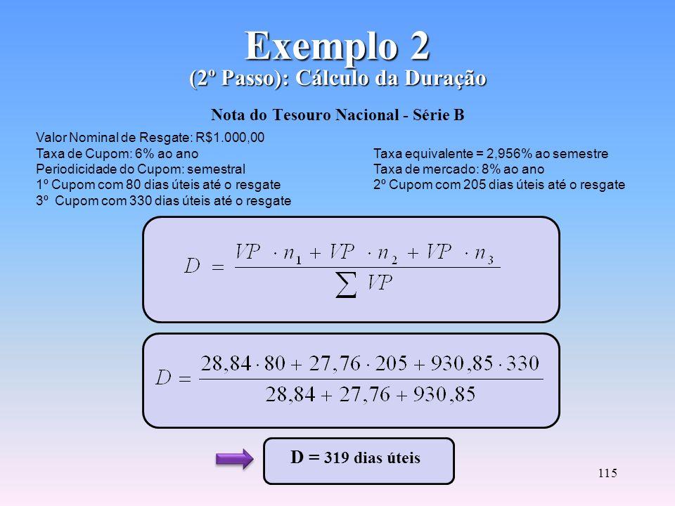 114 Exemplo 2 (1º Passo): Cálculo do Valor Presente Exemplo 2 (1º Passo): Cálculo do Valor Presente Nota do Tesouro Nacional - Série B VP = 28,84 + 27
