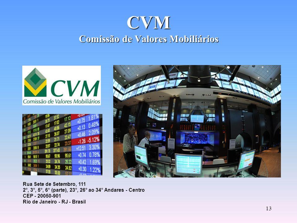 12 Autarquia vinculada ao Ministério da Fazenda. Incentiva a poupança no mercado acionário. Estimula o funcionamento das bolsas de valores e das insti