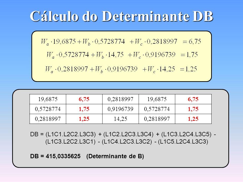 Cálculo do Determinante DA 6,750,57287740,28189976,750,5728774 1,7514,750,91967391,7514,75 1,250,919673914,251,250,9196739 DA = (L1C1.L2C2.L3C3) + (L1