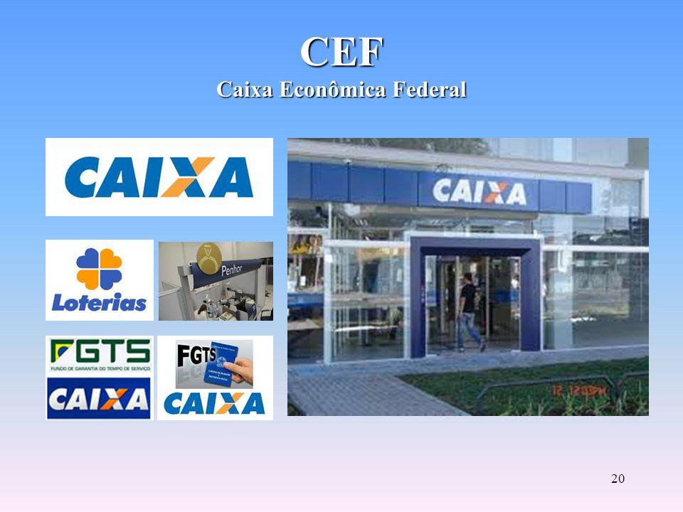 19 As caixas econômicas são instituições financeiras públicas, autônomas e que apresentam um claro objetivo social. A CEF executa atividades caracterí