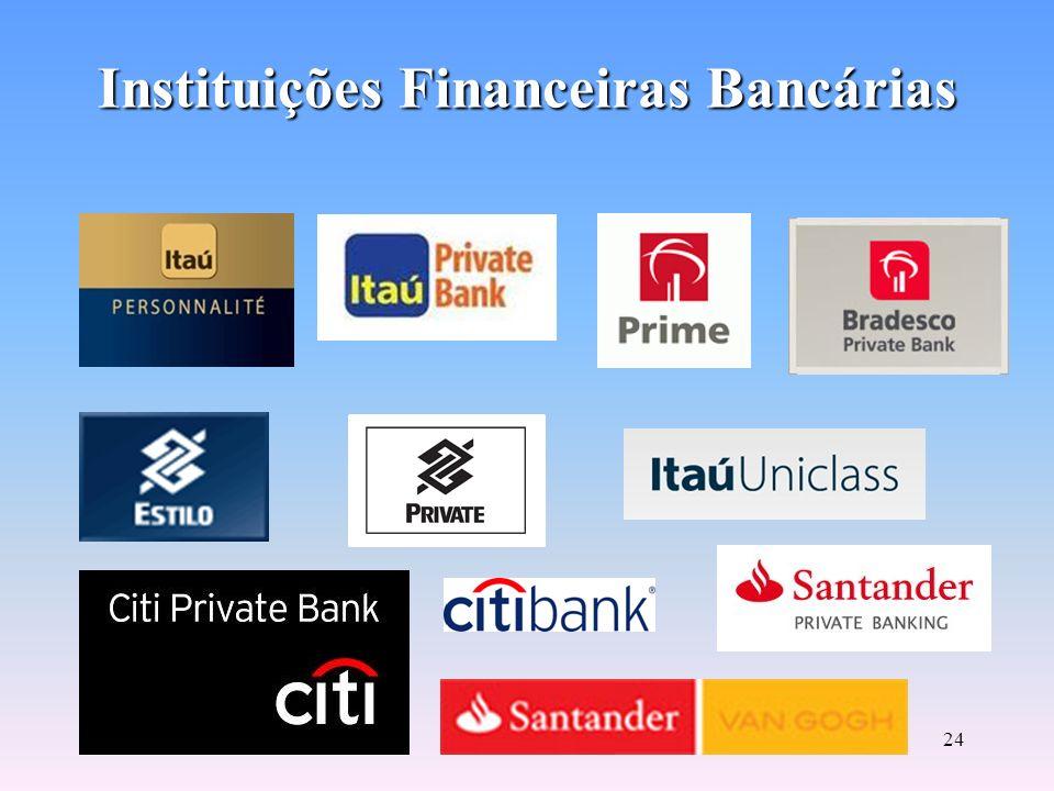 23 Instituições Financeiras Bancárias Bancos Comerciais: –Constituídos em forma de S.A. –Capacidade de criar moeda escritural Depósito Ativo e Passivo