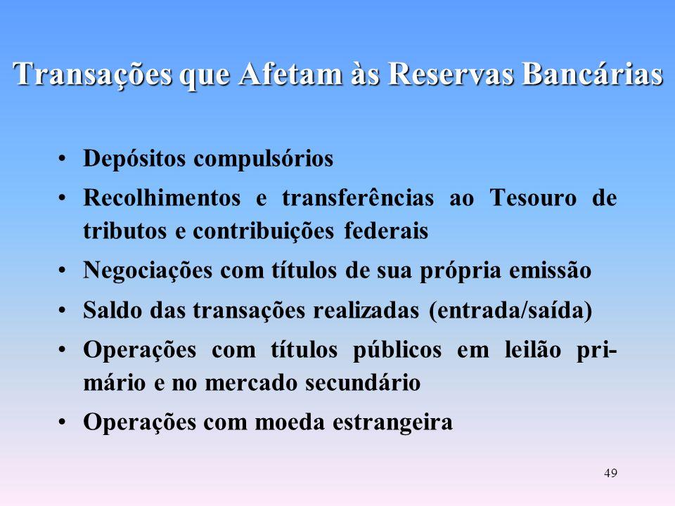 48 Atuação dos Bancos no Mercado Monetário RESERVAS MONETÁRIAS DOS BANCOS RESERVAS MONETÁRIAS DOS BANCOS Volume de Depósitos Voluntários junto ao BACE