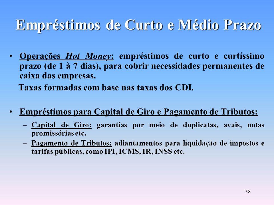 57 Empréstimos de Curto e Médio Prazo Desconto Bancário de Títulos: operação de crédito típica do sistema bancário, envolvendo duplicatas e promissóri