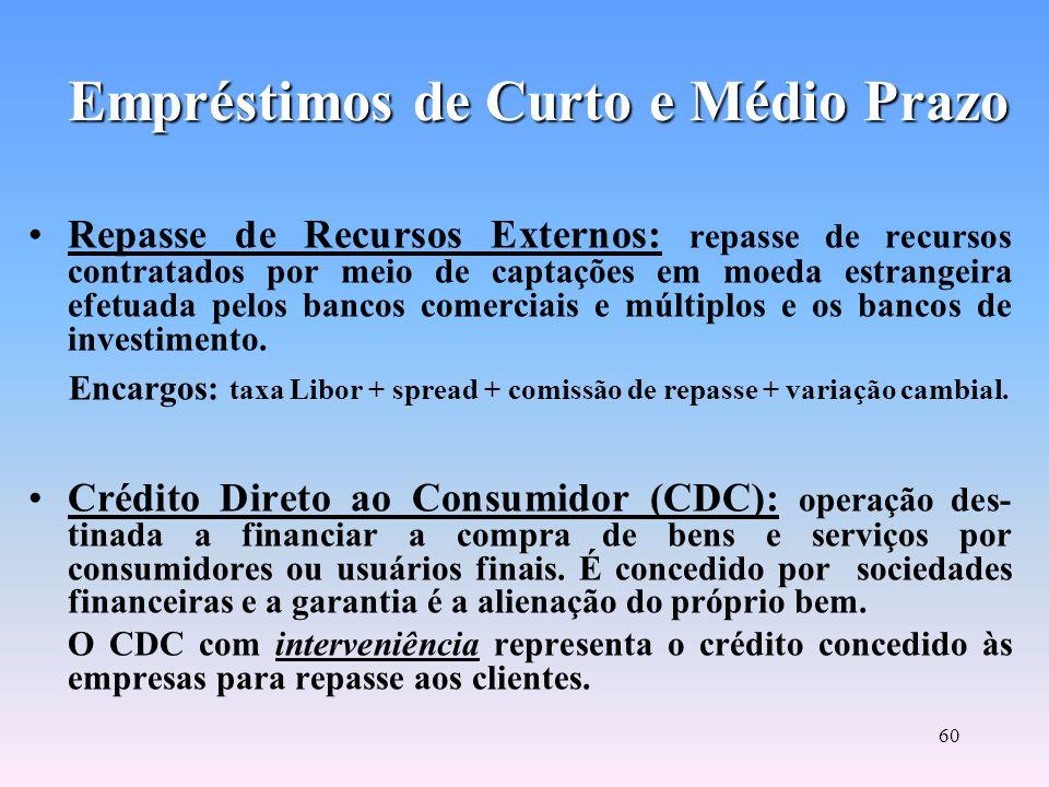 59 Empréstimos de Curto e Médio Prazo Operações de Vendor: financiamento das vendas baseado no princípio da cessão de crédito, que permite a uma empre
