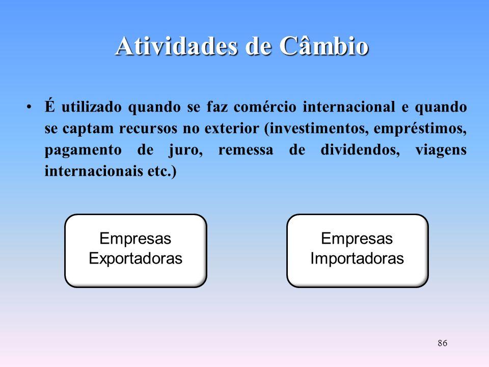 85 Segmento financeiro em que ocorrem operações de compra e venda de moedas internacionais conversíveis. Operadores de câmbio: especialistas vinculado