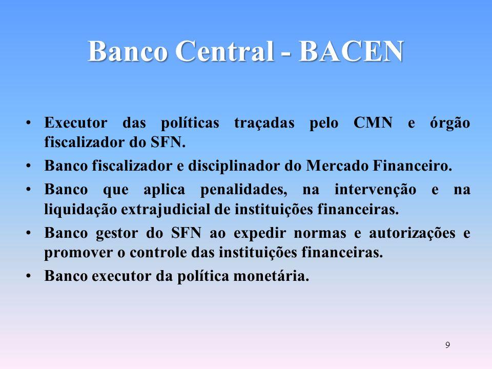 Conselho Monetário Nacional CMN FINALIDADE PRINCIPAL: FORMULAÇÃO DE TODA A POLÍTICA DE MOEDA E DO CRÉDITO, OBJETIVANDO ATENDER AOS INTERESSES ECONÔMIC