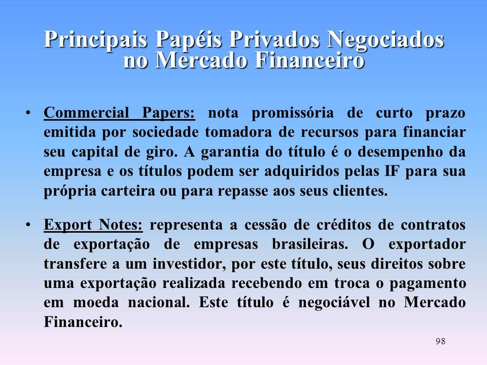 97 Depositary Receipts: são recibos de depósitos de ações depositadas em custódia em uma instituição financeira custodiante, responsável por manter a