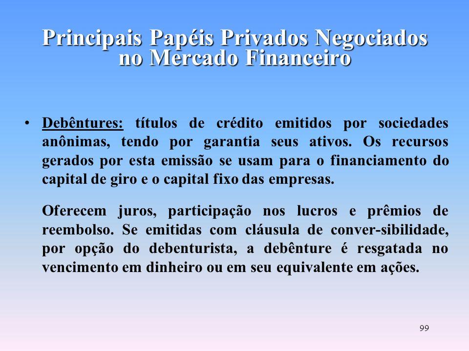 98 Commercial Papers: nota promissória de curto prazo emitida por sociedade tomadora de recursos para financiar seu capital de giro. A garantia do tít