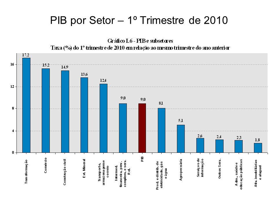 PIB por Setor – 1º Trimestre de 2010