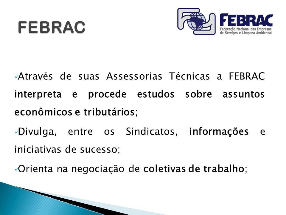 Através de suas Assessorias Técnicas a FEBRAC interpreta e procede estudos sobre assuntos econômicos e tributários; Divulga, entre os Sindicatos, info