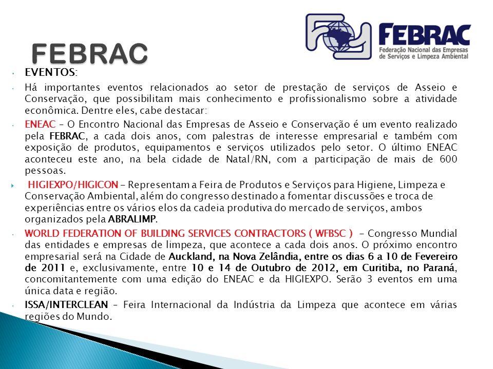EVENTOS: Há importantes eventos relacionados ao setor de prestação de serviços de Asseio e Conservação, que possibilitam mais conhecimento e profissio