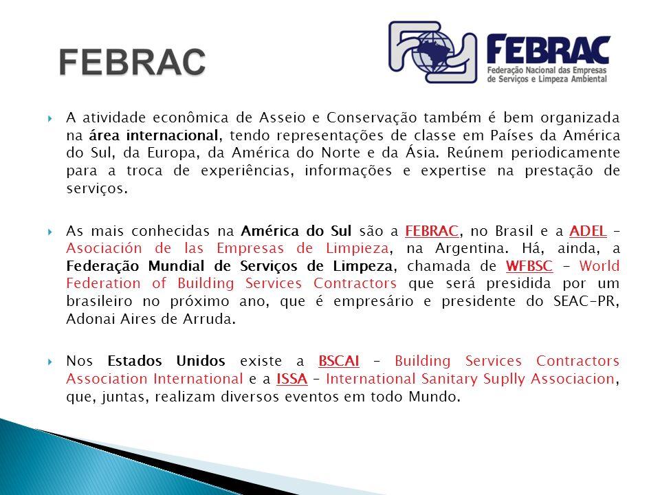A atividade econômica de Asseio e Conservação também é bem organizada na área internacional, tendo representações de classe em Países da América do Su
