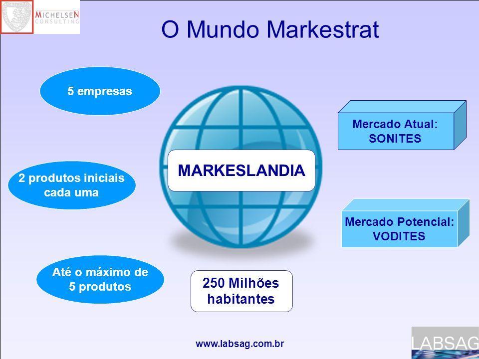 www.labsag.com.br O Mundo Markestrat MARKESLANDIA 250 Milhões habitantes 5 empresas 2 produtos iniciais cada uma Até o máximo de 5 produtos Mercado Atual: SONITES Mercado Potencial: VODITES