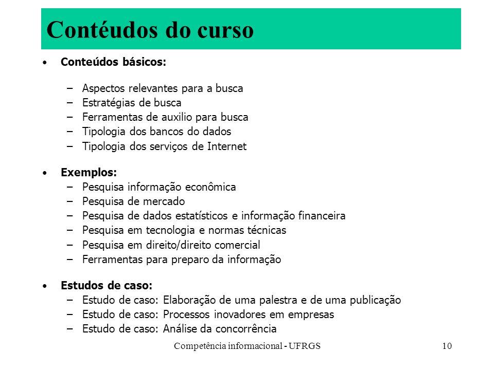 Competência informacional - UFRGS10 Contéudos do curso Conteúdos básicos: –Aspectos relevantes para a busca –Estratégias de busca –Ferramentas de auxi