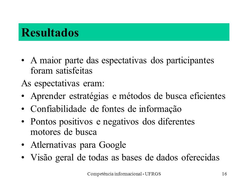 Competência informacional - UFRGS16 Resultados A maior parte das espectativas dos participantes foram satisfeitas As espectativas eram: Aprender estra