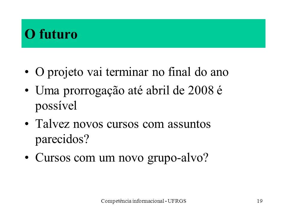Competência informacional - UFRGS19 O futuro O projeto vai terminar no final do ano Uma prorrogação até abril de 2008 é possível Talvez novos cursos c