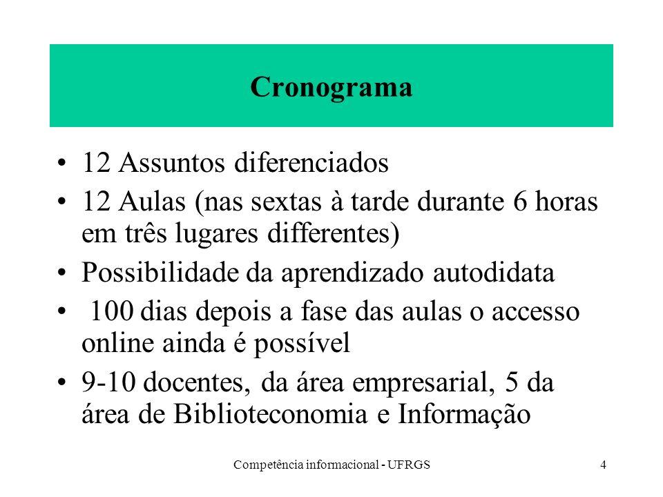 Competência informacional - UFRGS4 Cronograma 12 Assuntos diferenciados 12 Aulas (nas sextas à tarde durante 6 horas em três lugares differentes) Poss