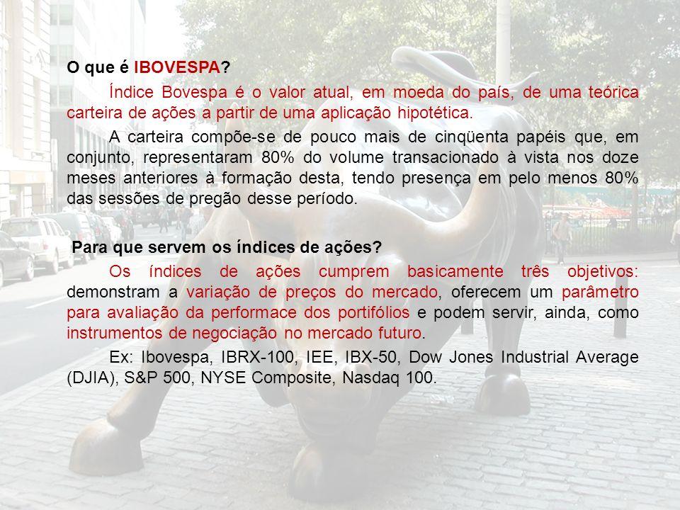 O que é IBOVESPA? Índice Bovespa é o valor atual, em moeda do país, de uma teórica carteira de ações a partir de uma aplicação hipotética. A carteira