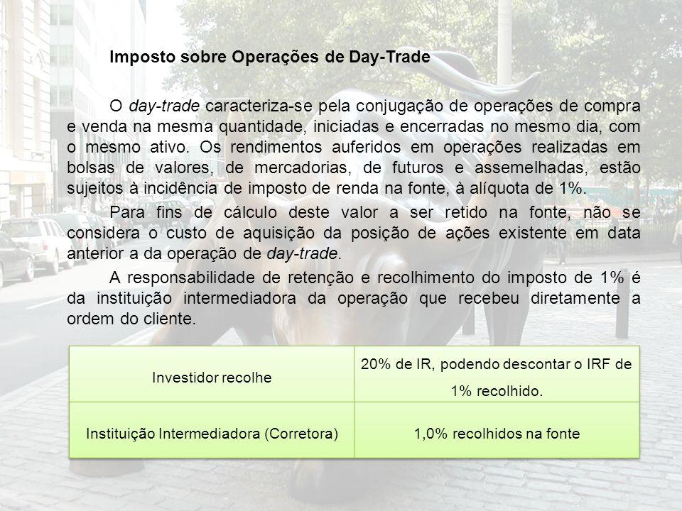 Imposto sobre Operações de Day-Trade O day-trade caracteriza-se pela conjugação de operações de compra e venda na mesma quantidade, iniciadas e encerr