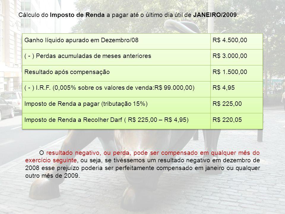 Cálculo do Imposto de Renda a pagar até o último dia útil de JANEIRO/2009: O resultado negativo, ou perda, pode ser compensado em qualquer mês do exer
