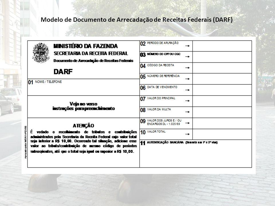 Modelo de Documento de Arrecadação de Receitas Federais (DARF)