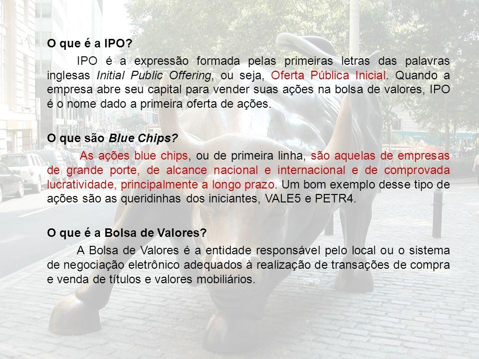 O que é a IPO? IPO é a expressão formada pelas primeiras letras das palavras inglesas Initial Public Offering, ou seja, Oferta Pública Inicial. Quando