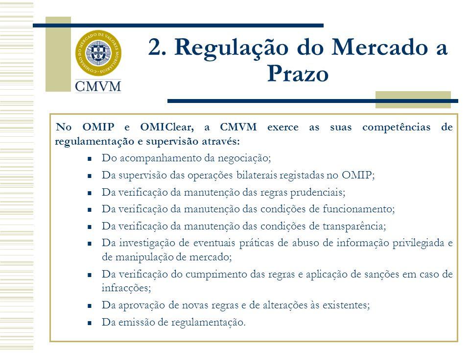 No OMIP e OMIClear, a CMVM exerce as suas competências de regulamentação e supervisão através: Do acompanhamento da negociação; Da supervisão das operações bilaterais registadas no OMIP; Da verificação da manutenção das regras prudenciais; Da verificação da manutenção das condições de funcionamento; Da verificação da manutenção das condições de transparência; Da investigação de eventuais práticas de abuso de informação privilegiada e de manipulação de mercado; Da verificação do cumprimento das regras e aplicação de sanções em caso de infracções; Da aprovação de novas regras e de alterações às existentes; Da emissão de regulamentação.